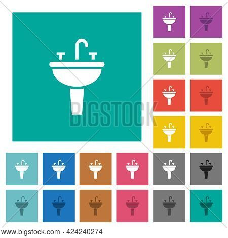 Sink Multi Colored Flat Icons On Plain Square Backgrounds. Included White And Darker Icon Variations