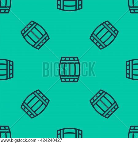 Blue Line Wooden Barrel Icon Isolated Seamless Pattern On Green Background. Alcohol Barrel, Drink Co