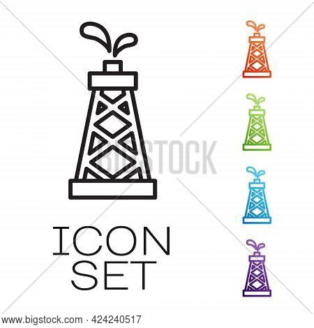 Black Line Oil Rig Icon Isolated On White Background. Gas Tower. Industrial Object. Set Icons Colorf