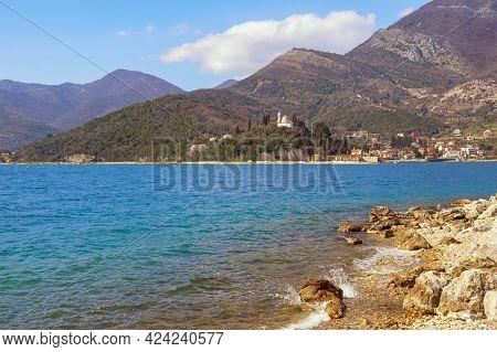Beautiful Winter Mediterranean Landscape On Sunny Day. Montenegro, Adriatic Sea. View Of Kotor Bay N