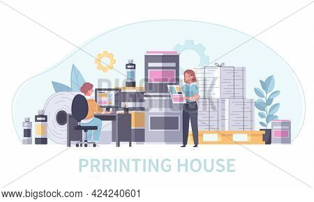 Printing House Polygraphy Colored And Cartoon Concept Print Office Staff At Work Vector Illustration