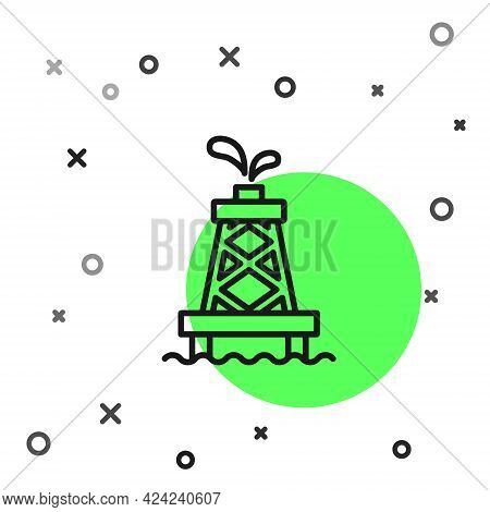 Black Line Oil Rig Icon Isolated On White Background. Gas Tower. Industrial Object. Vector