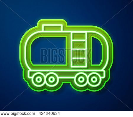 Glowing Neon Line Oil Railway Cistern Icon Isolated On Blue Background. Train Oil Tank On Railway Ca