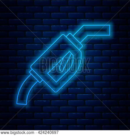Glowing Neon Line Gasoline Pump Nozzle Icon Isolated On Brick Wall Background. Fuel Pump Petrol Stat