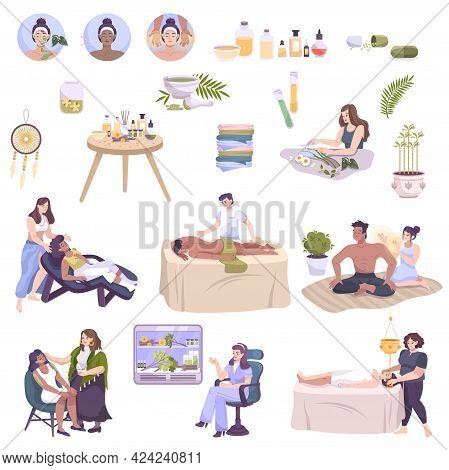 Alternative Medicine With Ayurvedic Aroma Therapy Massage Treatment Meditation Herbal Medicine Yoga