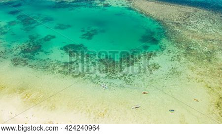 Lagoon With Turquoise Water And Boats. Coral Reef And Atoll With Turquoise Water And Boats. Bohol, P