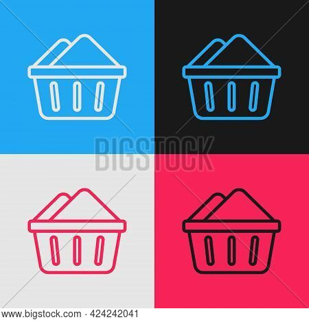 Pop Art Line Plastic Basin With Soap Suds Icon Isolated On Color Background. Bowl With Water. Washin