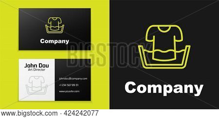 Logotype Line Plastic Basin With Shirt Icon Isolated On Black Background. Bowl With Water. Washing C
