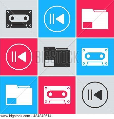 Set Retro Audio Cassette Tape, Rewind And Document Folder Icon. Vector