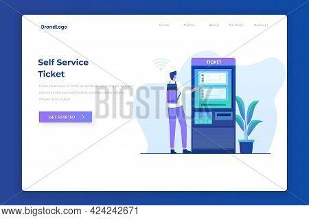 Self Ticketing Service Illustration Landing Page Concept