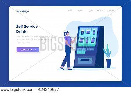 Self Ordering Drink Service Illustration Landing Page