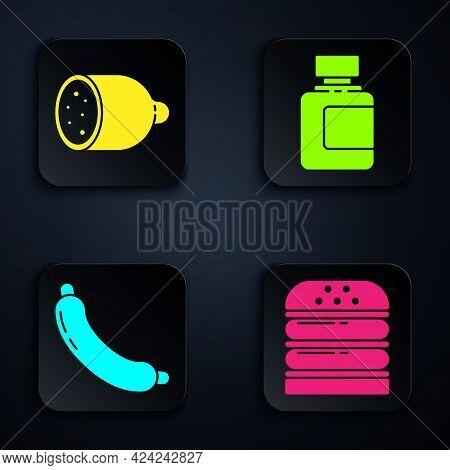 Set Burger, Salami Sausage, Sausage And Sauce Bottle. Black Square Button. Vector