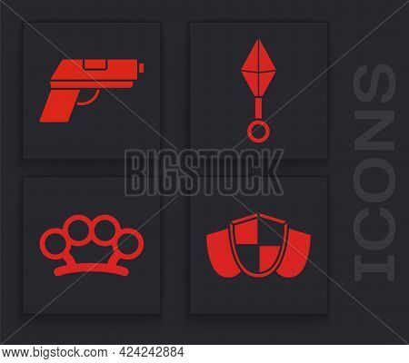 Set Shield, Pistol Or Gun, Japanese Ninja Shuriken And Brass Knuckles Icon. Vector
