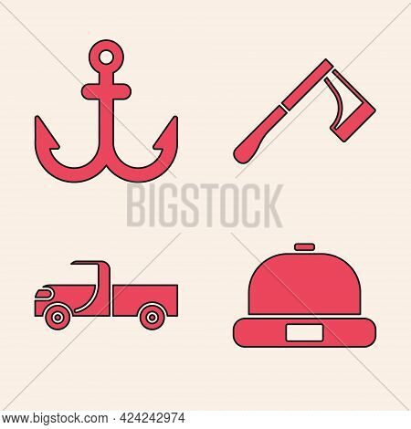Set Beanie Hat, Anchor, Wooden Axe And Pickup Truck Icon. Vector