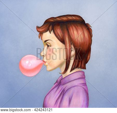 Young girl blowing bubble gum. Mixed media illustration.