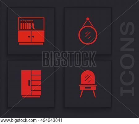 Set Dressing Table, Library Bookshelf, Mirror And Wardrobe Icon. Vector
