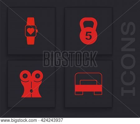 Set Big Bed, Smart Watch, Weight And Women Waist Icon. Vector