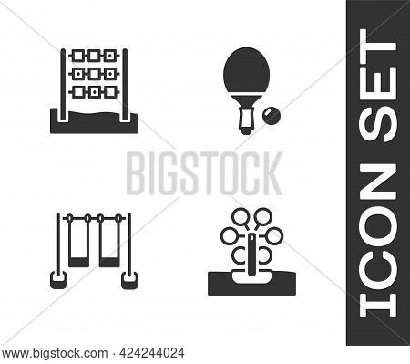 Set Ferris Wheel, Tic Tac Toe Game, Double Swing And Racket And Ball Icon. Vector