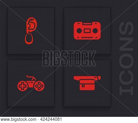 Set Waist Bag Of Banana, Ear With Earring, Retro Audio Cassette Tape And Gamepad Icon. Vector