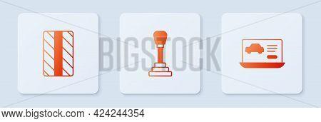 Set Gear Shifter, Car Tire Wheel And Diagnostics Condition Of Car. White Square Button. Vector
