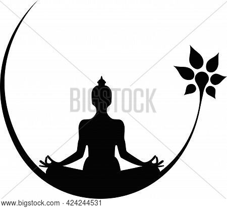 Seated Buddha Meditating With A Flower On A White Background