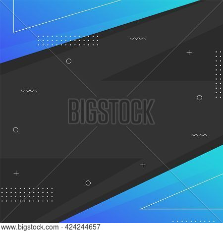 Modern Memphis Design Square Template With Place For Text. Square Banner With Black Background. Blue