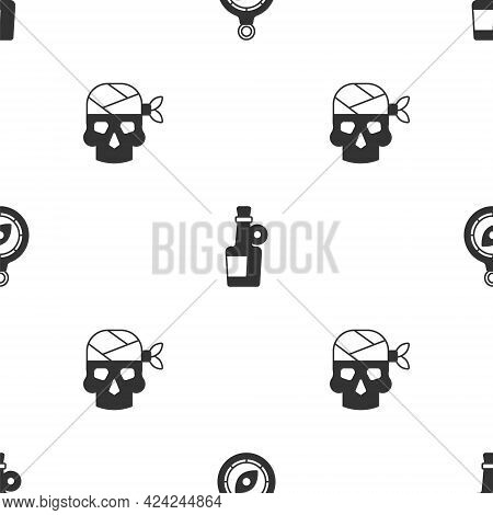 Set Compass, Alcohol Drink Rum And Pirate Captain On Seamless Pattern. Vector