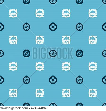 Set Compass And Ship Porthole With Seascape On Seamless Pattern. Vector