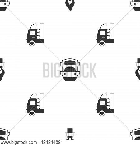 Set Oil Rig With Fire, Tanker Ship And Gas For Vehicle On Seamless Pattern. Vector