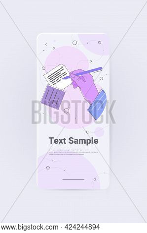 Human Hand Writing Notes In Mobile App Writer Journalist Or Author With Pen Working On Document Vert