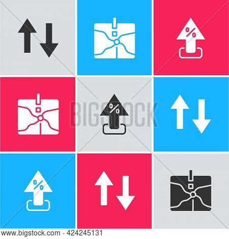 Set Arrow, Intersection Point And Percent Up Arrow Icon. Vector