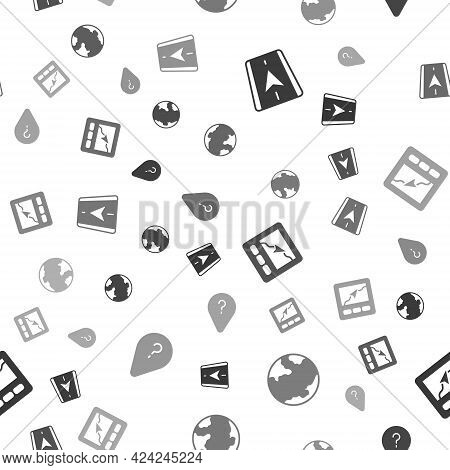 Set City Map Navigation, Earth Globe, Gps Device With And Unknown Route Point On Seamless Pattern. V