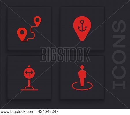 Set Location With Person, Route Location, Anchor And Fork In The Road Icon. Vector