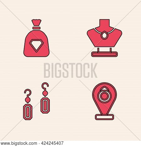 Set Jewelry Store, Bag With Gems, Necklace On Mannequin And Earrings Icon. Vector