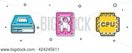 Set Optical Disc Drive, Hard Disk Hdd And Processor With Cpu Icon. Vector