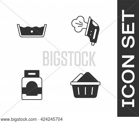 Set Basin With Soap Suds, Temperature Wash, Laundry Detergent And Electric Iron Icon. Vector