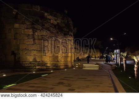 Derbent. Russia. April 09, 2021. The Oldest Stone Wall Between The Naryn-kala Fortress And The Caspi