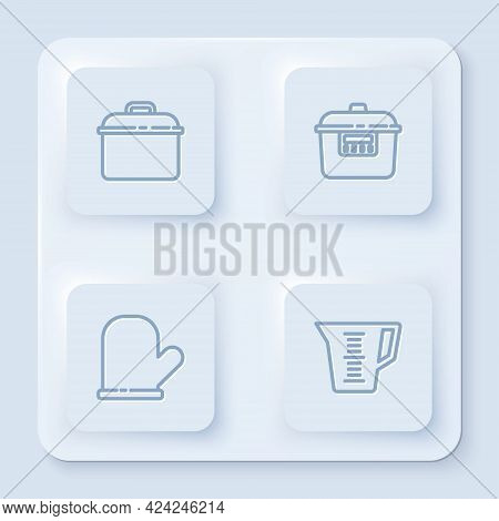 Set Line Cooking Pot, Slow Cooker, Oven Glove And Measuring Cup. White Square Button. Vector
