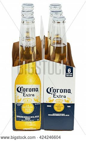 Ukraine, Kyiv - June 14. 2021: A 6 Pack Of Corona Extra Beer Isolated On White Background, Side View