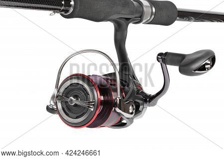 The Fishing Reel Is Installed On A Rod For Catching Perch, Zander, Pike And Other Predatory Fish. Fi