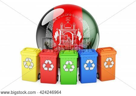 Waste Recycling In Afghanistan. Colored Recycling Bins With Afghan Flag, 3d Rendering Isolated On Wh