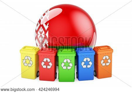 Waste Recycling In Belarus. Colored Recycling Bins With Belarusian Flag, 3d Rendering Isolated On Wh