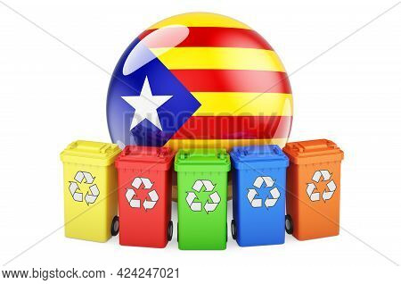 Waste Recycling In Catalonia. Colored Recycling Bins With Catalan Flag, 3d Rendering Isolated On Whi