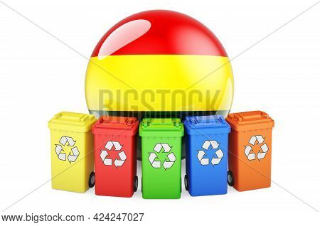 Waste Recycling In Bolivia. Colored Recycling Bins With Bolivian Flag, 3d Rendering Isolated On Whit