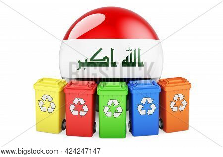 Waste Recycling In Iraq. Colored Recycling Bins With Iraqi Flag, 3d Rendering Isolated On White Back