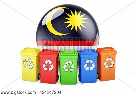 Waste Recycling In Malaysia. Colored Recycling Bins With Malaysian Flag, 3d Rendering Isolated On Wh
