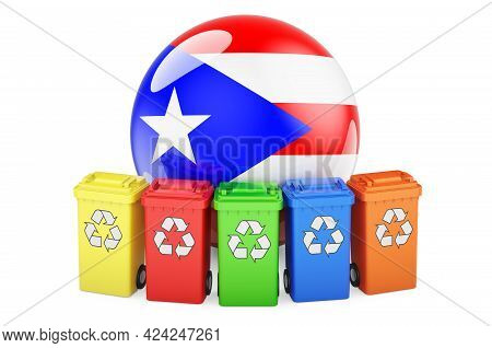 Waste Recycling In Puerto Rico. Colored Recycling Bins With Puerto Rican Flag, 3d Rendering Isolated