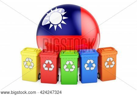 Waste Recycling In Taiwan. Colored Recycling Bins With Taiwanese Flag, 3d Rendering Isolated On Whit