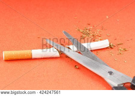 Filter Cigarette Cut With Scissors On An Orange Background. Quit Smoking
