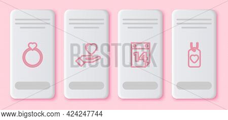 Set Line Wedding Rings, Heart Hand, Calendar With February 14 And Tag. White Rectangle Button. Vecto